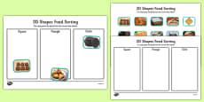 Food 2D Shape Sorting Activity