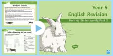 Year 5 English Revision Morning Starter Weekly PowerPoint Pack 3