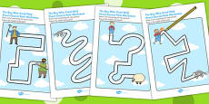 The Boy Who Cried Wolf Pencil Control Path Activity Sheets