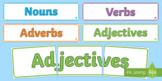 Nouns Adjectives Verbs and Adverbs Display Banner Pack