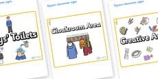 Seahorse Themed Editable Square Classroom Area Signs (Plain)