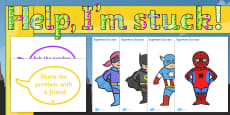 Superhero Themed Ready Made 'Help, I'm Stuck! What Should I Do?' Display Pack