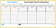 Novel Chapter Record Activity Sheet