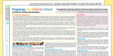 Preparing Your Child For School - A Guide For Parents and Guardians Leaflet