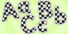 Black and White Checked Lowercase Display Lettering