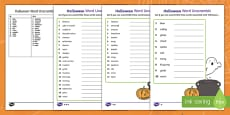 Halloween Differentiated Word Unscramble