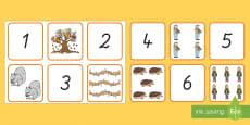 Herbst: Zahlen und Bilder 1 bis 10 Puzzle Spiel