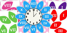 Roman Numerals Clock Flower Labels