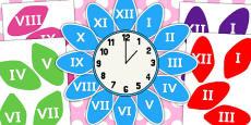 Roman Numerals Clock Flower Labels