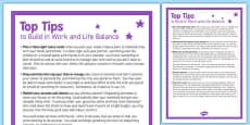Top Tips to Build in Work Life Balance