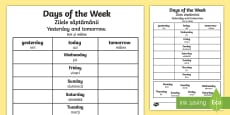 * NEW * Days of the Week Yesterday and Tomorrow Activity Sheet English/Romanian