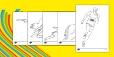 The Olympics Pentathlon Colouring Sheets