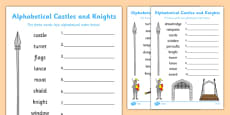 Castles and Knights Alphabet Ordering Differentiated Activity Sheet Pack