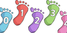 Numbers 0-10 on Footprints