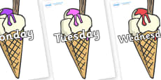 Days of the Week on Ice Cream Cones to Support Teaching on The Very Hungry Caterpillar