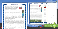 Memorial Day Differentiated Reading Comprehension Activity