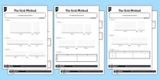 Year 3 Differentiated The Grid Method Activity Sheet Pack