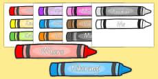 Colour Words on Crayons Māori