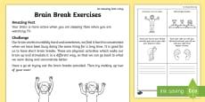 Brain Break Exercises Activity Sheet