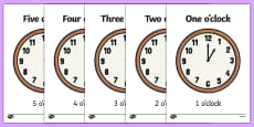 Display Clocks Hours With Written Times