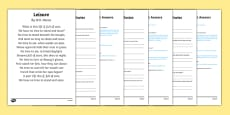 Leisure By W. H. Davies Poetry Differentiated Reading Comprehension Activity