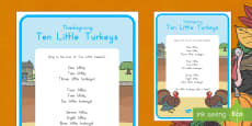 Ten Little Turkeys Song Lyrics