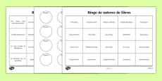 Book Reading Bingo Activity Sheets Spanish