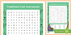 Traditional Irish Music Word Search