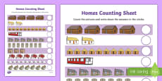 Houses and Homes Counting up to 10 Activity Sheet
