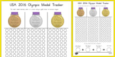 USA 2016 Olympic Medal Count and Add Activity Sheet