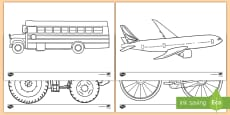 Transportation Themed Coloring Activity Sheets