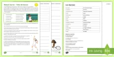 Roland Garros Differentiated Reading Comprehension Activity French
