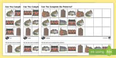 Houses and Homes Complete the Pattern Activity Sheet (Differentiated)