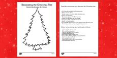 Christmas Tree Decorating Comprehension Activity Romanian Translation