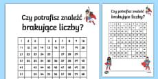 Karta Brakujące liczby od 1 do 100 Superbohater Polish / Polski
