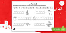 Guess Christmas Vocabulary With Maths Activity Sheet Spanish