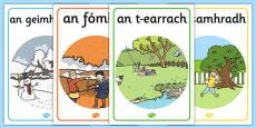 Four Seasons Posters A4 Gaeilge