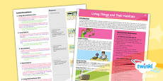 PlanIt - Science Year 2 - Living Things and Their Habitats Planning Overview