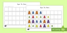 Sorting Bear Repeating Patterns Activity Sheet