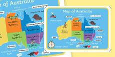 Map of Australia With Names (Australia)