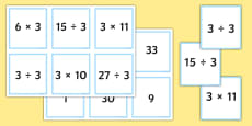 Multiplication and Division Facts For The 3 Times Table Matching Cards