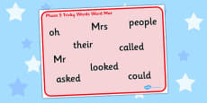 Phase 5 Tricky Words Word Mat