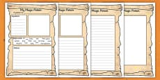 Magic Potion Writing Activity Sheet