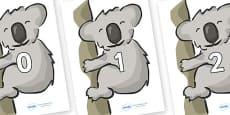 Numbers 0-31 on Koalas