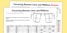 Converting Between Litres and Millilitres Activity Sheet