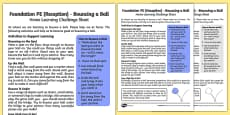 Foundation PE (Reception) - Bouncing a Ball Home Learning Challenge Sheet