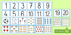 Numerele de la 1 la 20 Cartonașe pereche