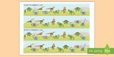 Rectas numéricas: Los dinosaurios de 1-20 Recta numérica