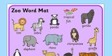 Zoo Word Mat