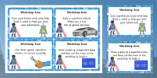 EYFS Superhero Themed Workshop Area Challenge Cards